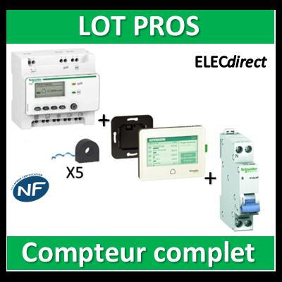 Schneider - Compteur RT2012 - 5 entrées 230V + 5 tores + Afficheur - Wiser - EER39000+EER22000+20724