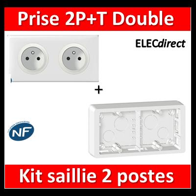 Legrand Céliane - Double Prise 2P+T 16A saillie précâblée complet 2 postes