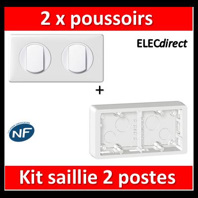 Legrand Céliane - 2 x Poussoirs saillie complet 2 postes