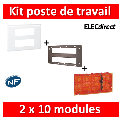 Legrand Mosaic - Kit poste de travail 2 x 10 modules - Blanc