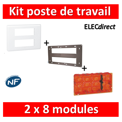 Legrand Mosaic - Kit poste de travail 2 x 8 modules - Blanc