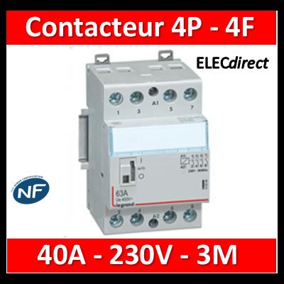 Legrand - Contacteur de puissance 4P bobine 230V - 40A - 4F - 3M - 412553