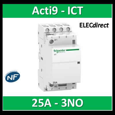Schneider - Contacteur Acti9 - ICT - 25A - 3NO - 230/240V 50Hz - A9C20833