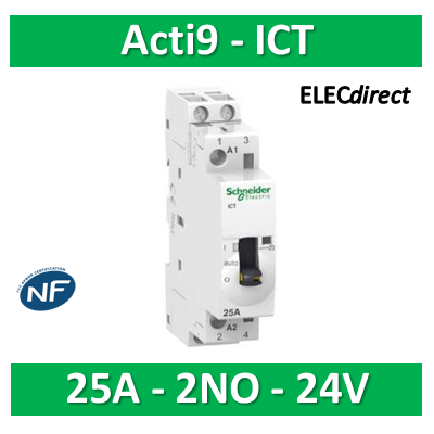 Schneider - Contacteur Acti9 - ICT - 25A - 2NO - 24VCA 50Hz - A9C21132