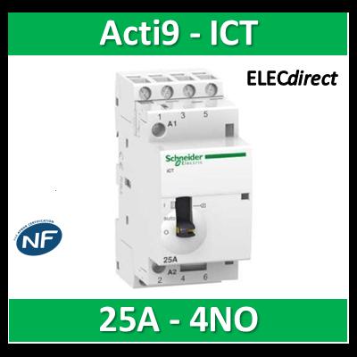 Schneider - Contacteur Acti9 - ICT - 25A - 4NO - 230/240V 50Hz - A9C21834
