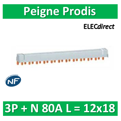 Schneider - Peigne Prodis 3P +N 80A - L = 12x18 - 21090