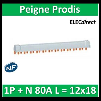 Schneider - Peigne Prodis 1P+N 80A - L = 12x18 - 21086