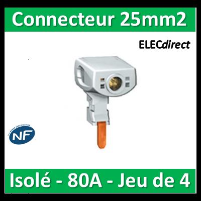 Schneider - Connecteur 25mm2 isolé - Pour peigne 80A - Jeu de 4 - 21098
