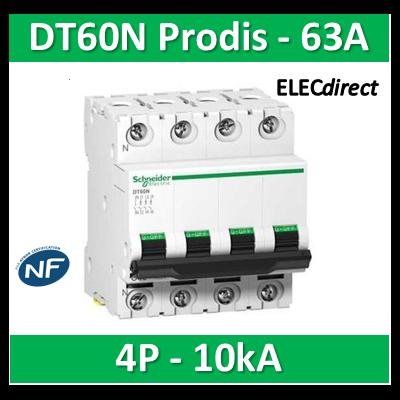 SCHNEIDER - Disjoncteur 4P 63A DT60N Prodis - 10KA - SCHA9N21031