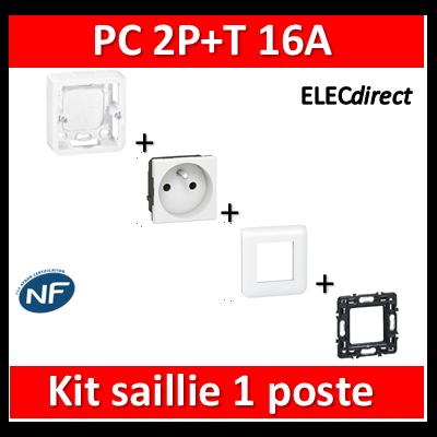 Legrand Mosaic - Kit saillie PC 2P+T 16A complet - Prof. 40