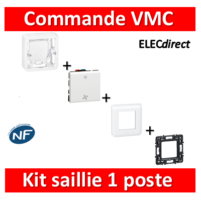 Legrand Mosaic - Kit saillie commande VMC complet - Prof. 40