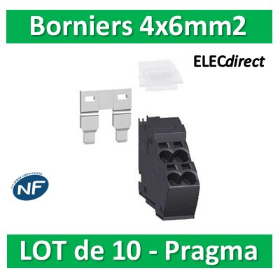 Schneider - Pragma Kit Bornier 4x6mm2 - PRA90047 Lot de 10