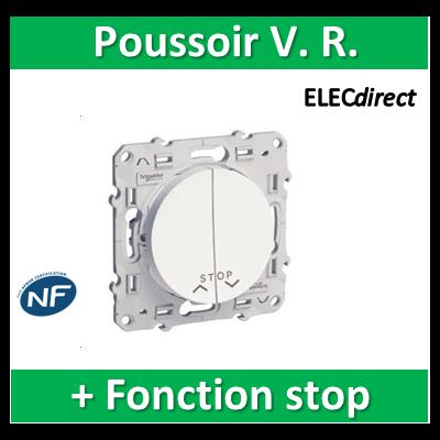 Schneider Odace - Poussoir volets-roulant 2 boutons montée/descente + fonction stop - s520227