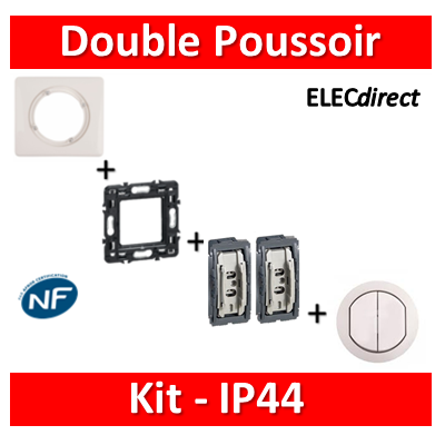 Legrand Céliane - Kit IP44 - Double poussoir - complet