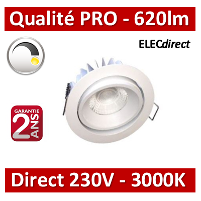 Lited - Downlight LED 9.6 W 620 lumens direct 230V orientable 3000K - DW230-10WW