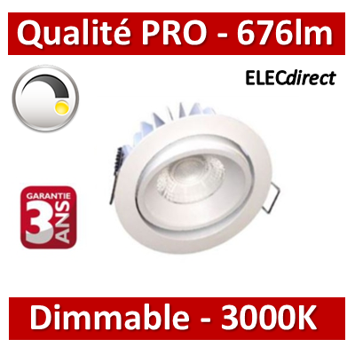 Lited - Spot LED 10W MonoLED Orientable - Dimmable - 3000K - 676lm