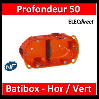 Legrand Batibox - Boîte multimatériaux 2 postes - 4/5M - Hor/Ver - profondeur 50 mm  - 080122