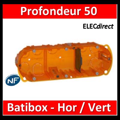 Legrand Batibox - Boîte multimatériaux 3 postes - 6/8M - Hor/Ver - profondeur 50 mm  - 080123
