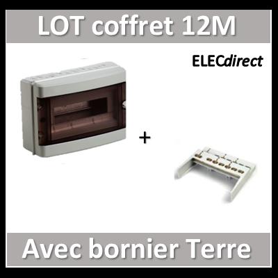 Digital Electric - Coffret électrique étanche - 1 rangée - 12 modules + bornier de Terre - IP55/IK08
