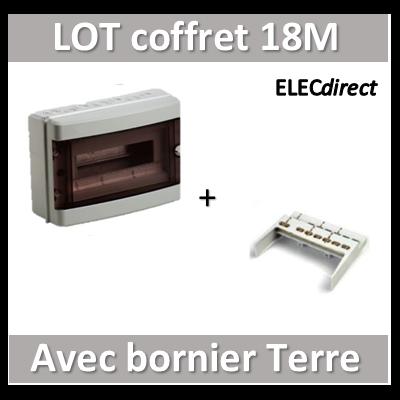 Digital Electric - Coffret électrique étanche - 1 rangée - 18 modules + bornier de Terre - IP55/IK08