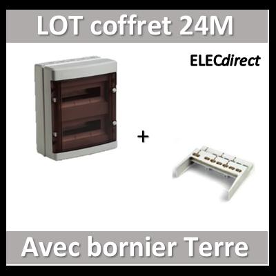 Digital Electric - Coffret électrique étanche - 2 rangées - 24 modules + bornier de Terre - IP55/IK08