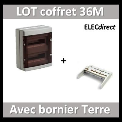 Digital Electric - Coffret électrique étanche - 2 rangées - 36 modules + bornier de Terre - IP55/IK08