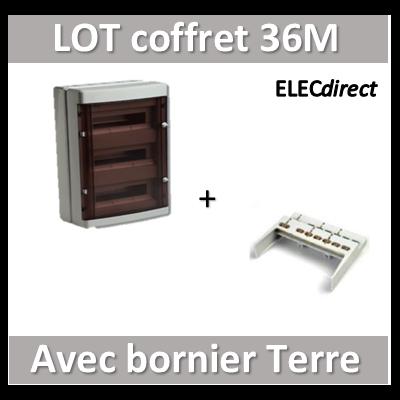 Digital Electric - Coffret électrique étanche - 3 rangées - 36 modules + bornier de Terre - IP55/IK08