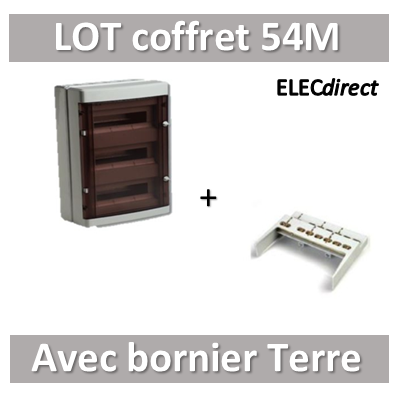 Digital Electric - Coffret électrique étanche - 3 rangées - 54 modules + Bornier de Terre - IP55/IK08