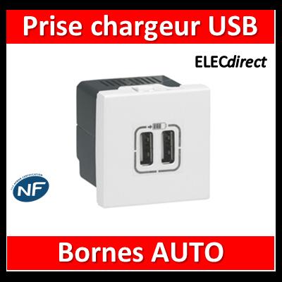 Legrand Mosaic - Prise chargeur USB 230V / 5V - 2 Ports - 077594