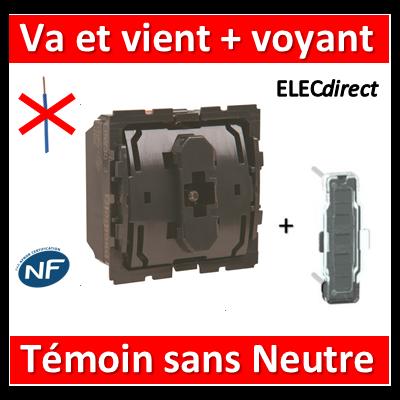 Legrand Céliane - Mécanisme + voyant - Va et vient témoin sans neutre - 067007