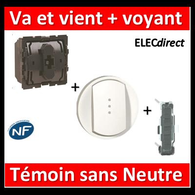 Legrand Céliane - Mécanisme + voyant + enjoliveur - V.V témoin 4A - 067007+068003