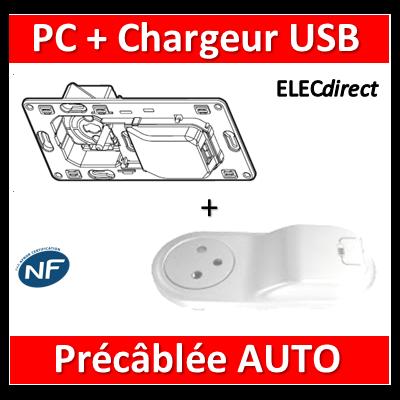 Legrand Céliane - Mécanisme + enjoliveur PC + Chargeur USB précâblée - 067116+068116