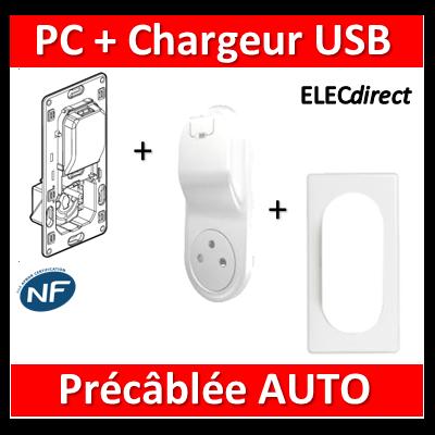 Legrand Céliane - PC + Chargeur USB précâblée - complet - 067116+068116+066635