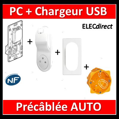 Legrand Céliane - PC + Chargeur USB précâblée - complet - 067116+068116+066635+080041
