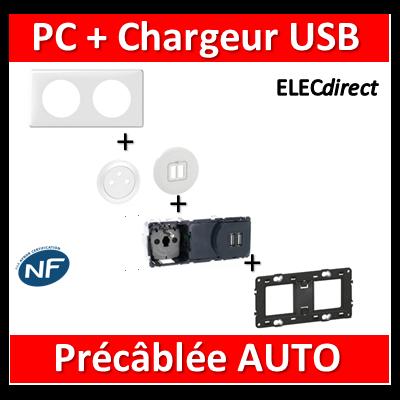 Legrand Céliane - PC + Chargeur USB précâblée - 067106+068256+068111+080252+066632