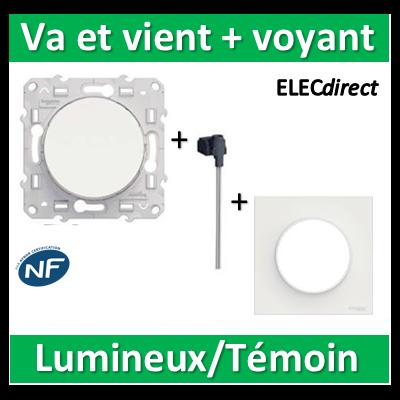 Schneider Odace - Va-et-Vient lumineux/Témoin LED orange + plaque - s520263-s520702