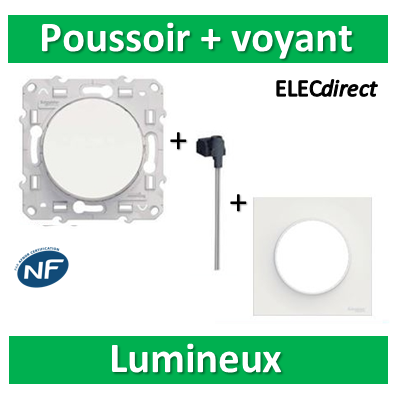 Schneider Odace - Bouton poussoir lumineux LED orange + plaque - s520206+s520290+s520702