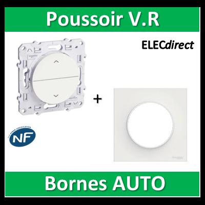 Schneider Odace - Poussoir volets-roulant 2 boutons montée/descente + plaque - s520207+s520702