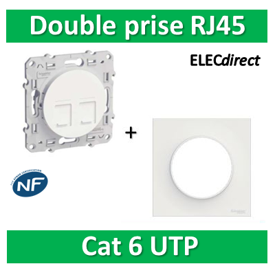 Schneider Odace - Double Prise RJ45 Cat.6 UTP + plaque - s520485+s520702