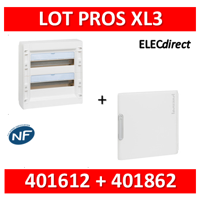 Legrand - Coffret de distribution 36 modules - 2R de 18M + porte - XL3 125 - 401612+401862