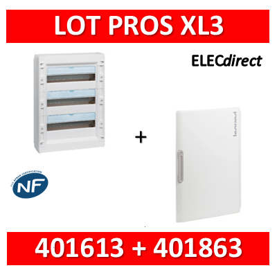 Legrand - Coffret de distribution 54 modules - 3R de 18M + porte - XL3 125 - 401613+401863