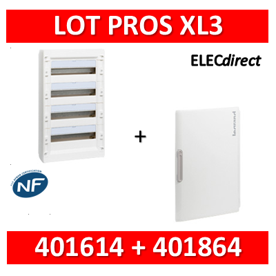 Legrand - Coffret de distribution 72 modules - 4R de 18M + porte - XL3 125 - 401614+401864
