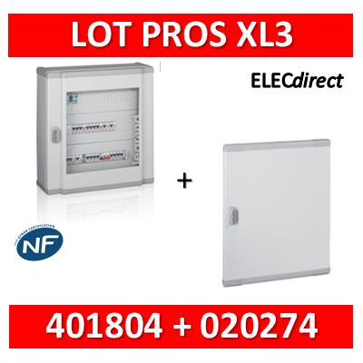 Legrand - Coffret de distribution 96 modules - 4 rangées de 24M + porte - XL3 160 - 401804+020274