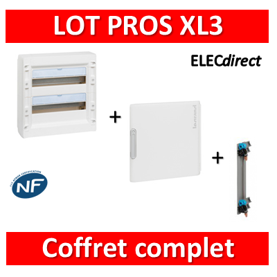 Legrand - Coffret de distribution 36 modules - 2R de 18M + porte+ peigne - XL3 125 - 401612+401862+405003