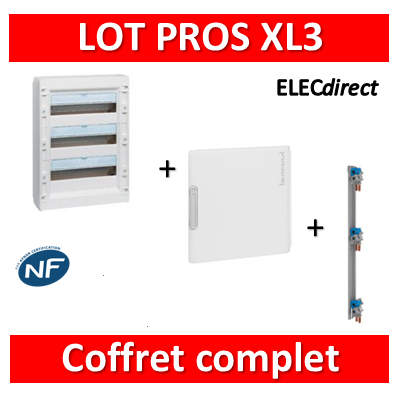 Legrand - Coffret de distribution 54 modules - 3R de 18M + porte + peigne - XL3 125 - 401613+401863+405004