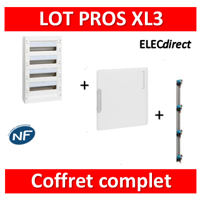 Legrand - Coffret de distribution 72 modules - 4R de 18M + porte + peigne - XL3 125 - 401614+401864+405005