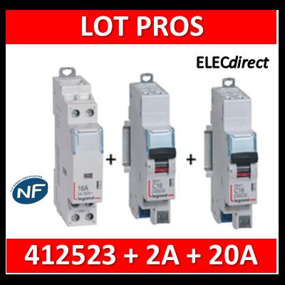Legrand - Contacteur 2P 25A - 2F + disjoncteur 2A DNX3 + disjoncteur 20A DNX3 - 412523+406780+406784
