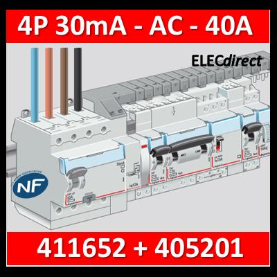 LEGRAND - Interrupteur différentiel DX3-ID 4P 40A - 30mA - AC + peigne HX3 12M - 411652+405201