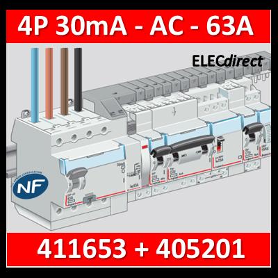 LEGRAND - Interrupteur différentiel DX3-ID 4P 63A - 30mA - AC + peigne HX3 12M - 411653+405201