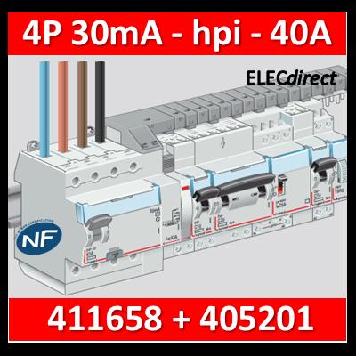 LEGRAND - Interrupteur différentiel DX3-ID 4P 40A - 30mA - HPI + peigne HX3 12M - 411658+405201